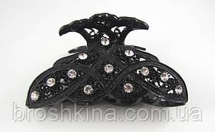 Краб металлический со стразами черный 9см