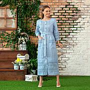 Платье с кружевом из льна голубого цвета