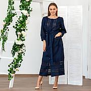 Платье с кружевом из льна синего цвета
