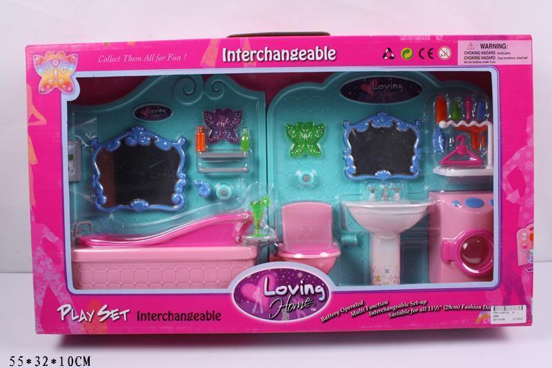 Мебель ванная комната для куклы типа барби со светом, ванна, стиральнаямашинка, умывальник, 2989