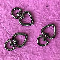 Кольцо-карабин сердце, размер 13 мм ушко, цвет темный никель