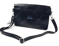 Черная женская вечерняя кожаная сумка-клатч