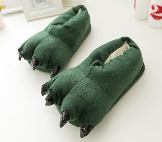 ✅  Домашние тапочки кигуруми Лапы Зеленые