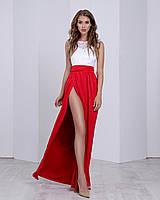 Летнее вечернее платье в пол с разрезом бело-красное (размер 42,44,46)