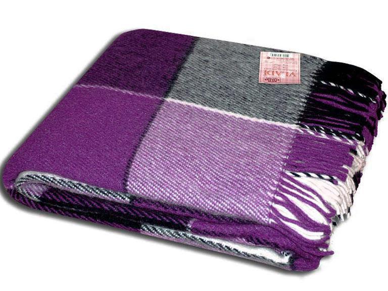 Плед шерстяной двухспальный  Эльф 170*210 фиолетовый