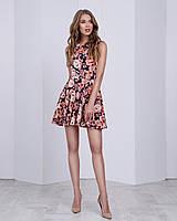 Женское платье (юбка-солнце)  стильный принт: коралл розы на черном
