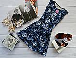 Жіноче плаття (спідниця-сонце) стильний принт: сині троянди на чорному, фото 2