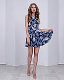Жіноче плаття (спідниця-сонце) стильний принт: сині троянди на чорному, фото 3