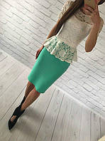 Женский костюм: кофта-баска с набивного гипюра молоко + юбка миди кукуруза мята