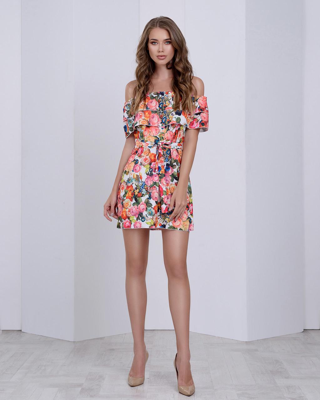 b2dda0819ed86c5 Цветочное шифоновое платье с двумя рюшами, цена 435 грн., купить в ...