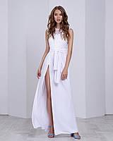 Летнее вечернее платье в пол с разрезом белое(размер 42,44,46)