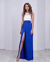 Летнее вечернее платье в пол с разрезом бело-синее(размер 42,44,46)