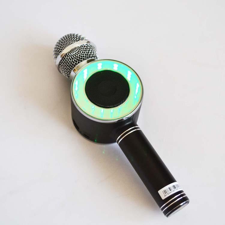Беспроводной караоке микрофон блютуз WSTER WS-668 Bluetooth динамик USB Чёрный Портативный микрофон