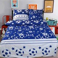 Детская постель Футбол. Полуторный Комплект детского постельного белья. Цвет Синий
