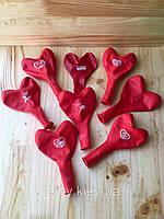 """Набір """"Любимой маме"""" Русс 12"""" (30 см) в упаковках по 10 шт. Повітряні кульки серце з малюнками (Червоні)"""