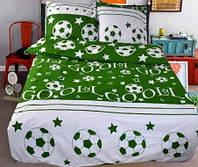 Детская постель Футбол. Полуторный комплект детского постельного белья. Цвет Зеленый
