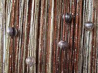 Кисея Радуга дождь с бусинами  (коричневый+беж+шампань)