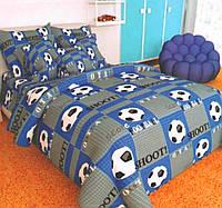 Детская постель Футбол. Полуторный комплект детского постельного белья. Цвет Серо-Синий