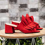 Открытые женские замшевые мюли с рюшами (красный), фото 2
