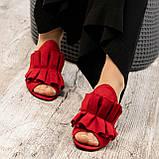 Открытые женские замшевые мюли с рюшами (красный), фото 4