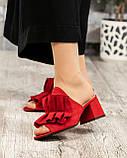 Открытые женские замшевые мюли с рюшами (красный), фото 5