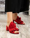 Открытые женские замшевые мюли с рюшами (красный), фото 7