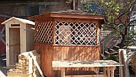 Беседка деревянная, шестигранная с битумной черепицой крыша