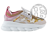 Женские кроссовки Versace Chain Reaction Bianco Oro Shell Pink DSR705G-DICTG_DB5OS
