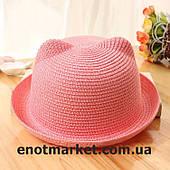 Шляпка детская с ушками, панамка для девочки розового цвета