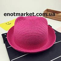 Шляпка детская с ушками, панамка для девочки малинового цвета