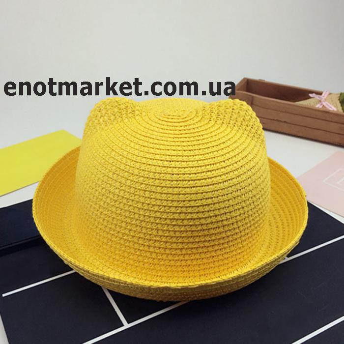 Шляпка детская с ушками, панамка для девочки желтого цвета