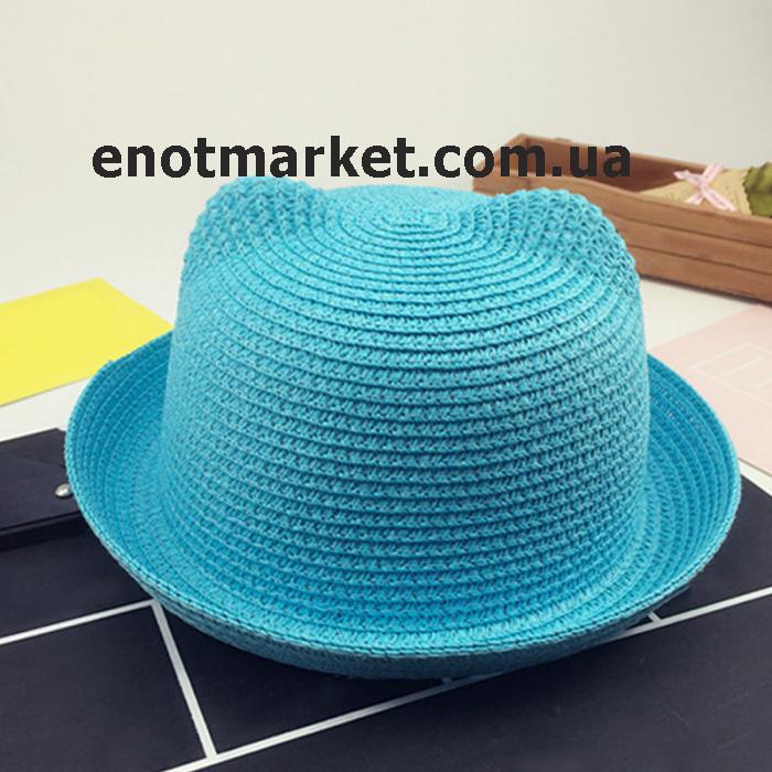 Шляпка детская с ушками, панамка для девочки голубого цвета