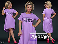 Модное летнее свободное асимметричное  платье больших размеров 50 - 56