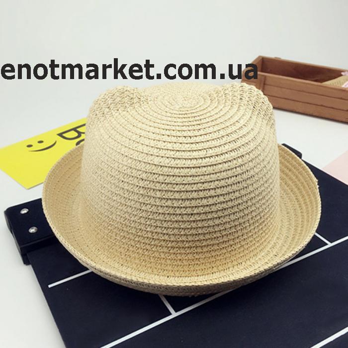 Шляпка детская с ушками, панамка для девочки бежевого цвета