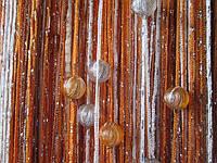 Кисея Радуга дождь с бусинами (белый+оранжевый+терракот)