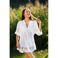 Современная белая блуза с ажурными вставками, 48-58 р-ры, 596/546 (цена за 1 шт. + 50 гр.)