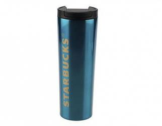 ✅  Термокружка глянцевая тамблер Starbucks 473мл (Blue)