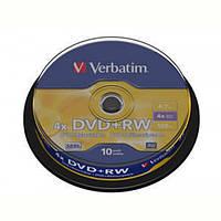 Диски DVD+RW Verbatim (43488) 4.7GB 4x Cake, 10шт Silver