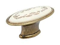 Ручка меблева скоба GIFF GP073 антична бронза / фарфор