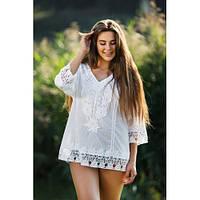 Женская роскошная блуза из натуральной ткани, белая, L-4XL р-ры, 624/574 (цена за 1 шт. + 50 гр.)