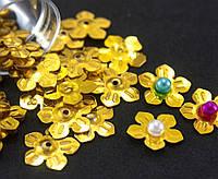"""(20гр ≈ 500 шт) Пайетки """"Цветочки"""" d=13мм (пайетки с отвертием) Цена за 20грамм Цвет - Золото, фото 1"""