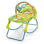 Детский шезлонг-качалка с регулируемой спинкой  Bambi PK-306-5 - зеленый; вибро и музыка, ремни безопасности