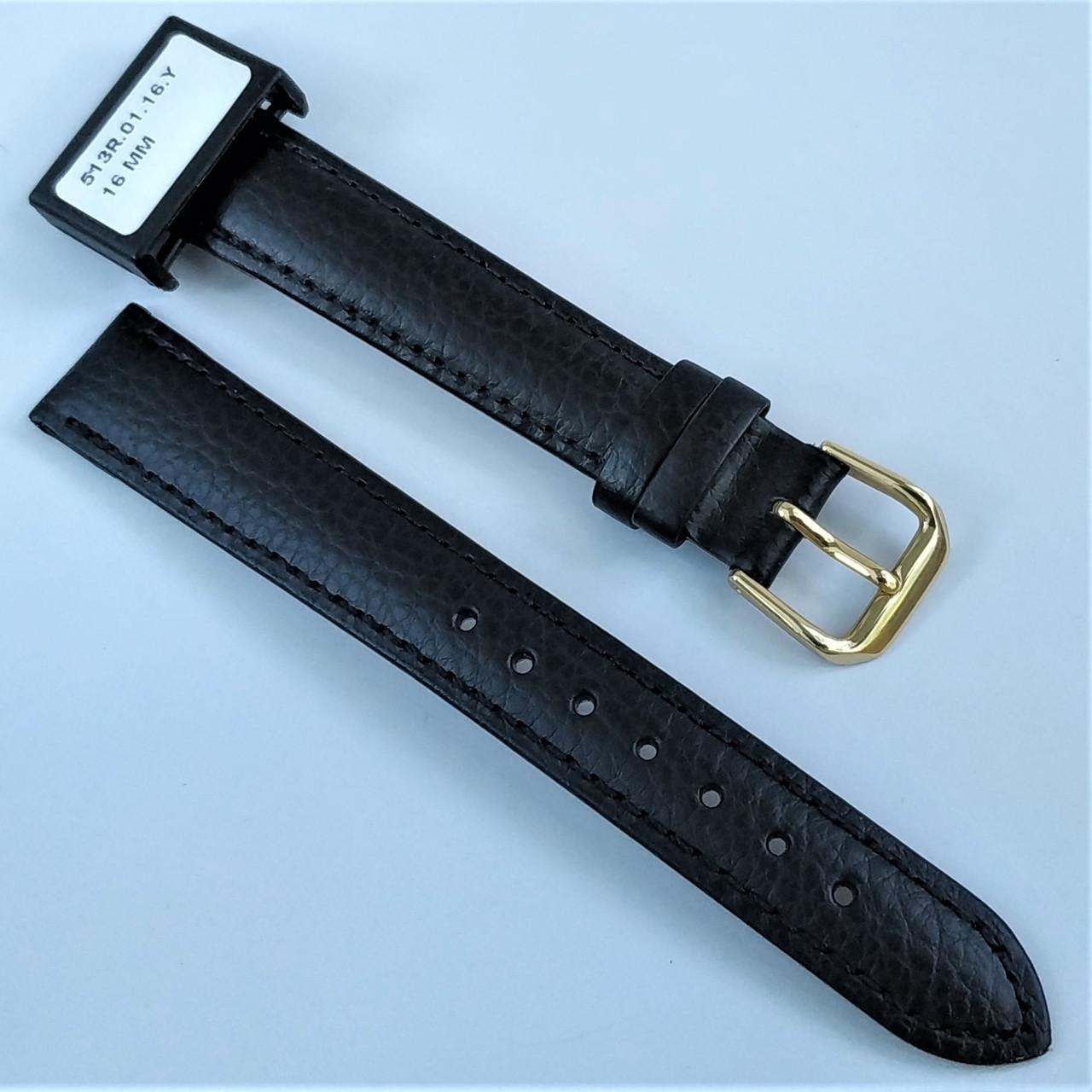 16 мм Кожаный Ремешок для часов CONDOR 513.16.01 Черный Ремешок на часы из Натуральной кожи
