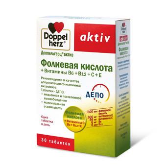 БАД для иммунитета Фолиевая кислота + Витамины В6+В12+С+Е  (30табл,Квайссер Доппельгерц актив Германия)
