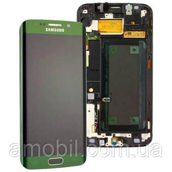 Дисплей + сенсор с рамкой Samsung G925 Galaxy S6 Edge Green Amoled orig