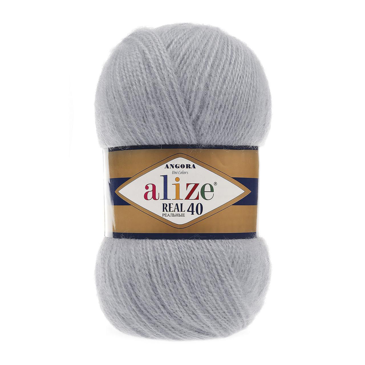 Пряжа Alize ANGORA REAL 40 для ручного вязания полушерсть серый №21