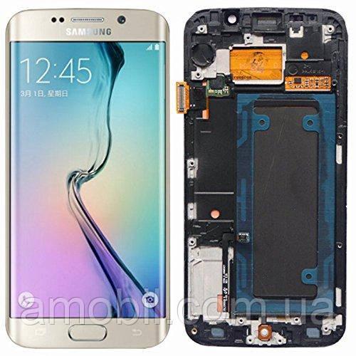 Дисплей + сенсор с рамкой Samsung G925 Galaxy S6 Edge Gold orig