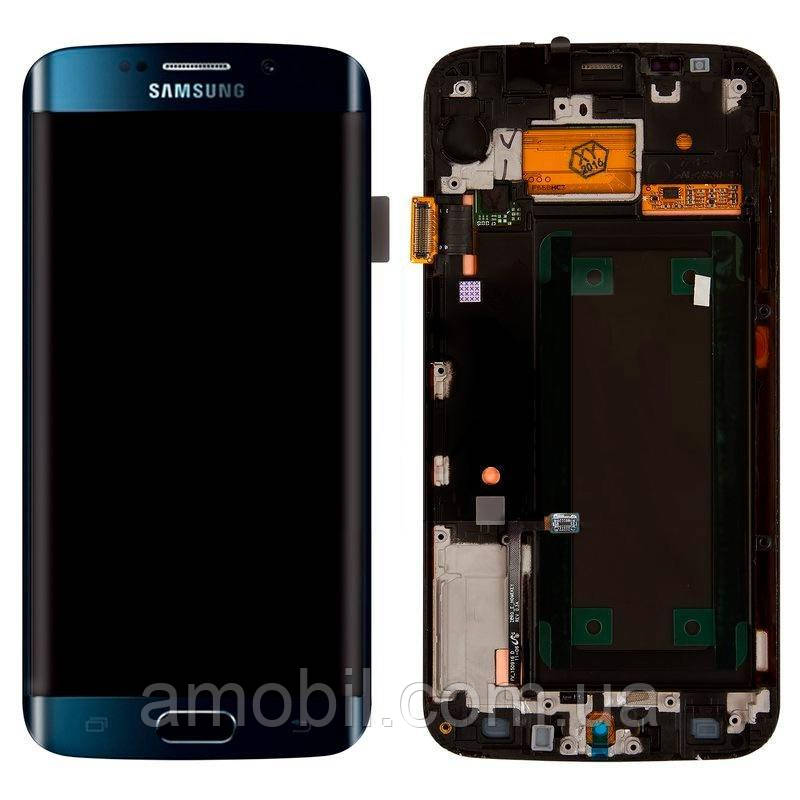 Дисплей + сенсор с рамкой Samsung G925 Galaxy S6 Edge Blue orig