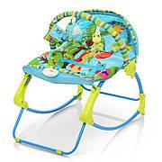 Детский шезлонг-качалка с регулируемой спинкой  Bambi PK-306-4 - голубой; вибро и музыка, ремни безопасности