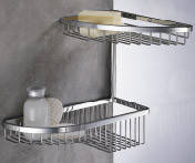 Полочка-сетка двойная для ванной комнаты 29*24,5 хром  Colombo Design B9607